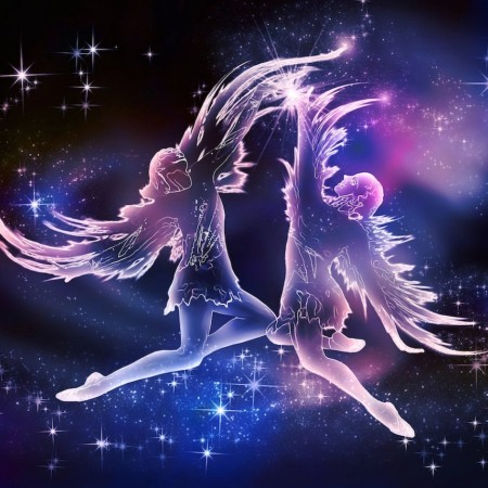 Drawing of two winged youths dancing - Gemini Constellation