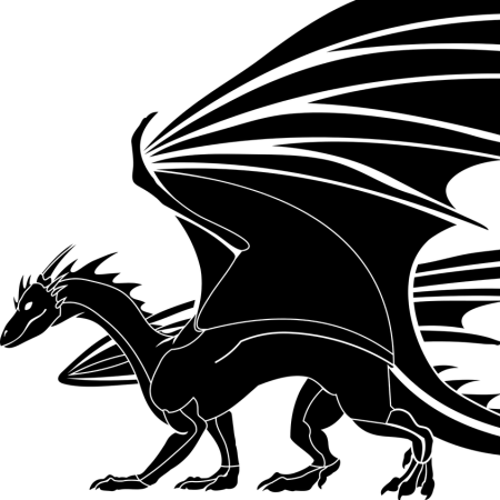 Black ink image of a dragon from pixabay